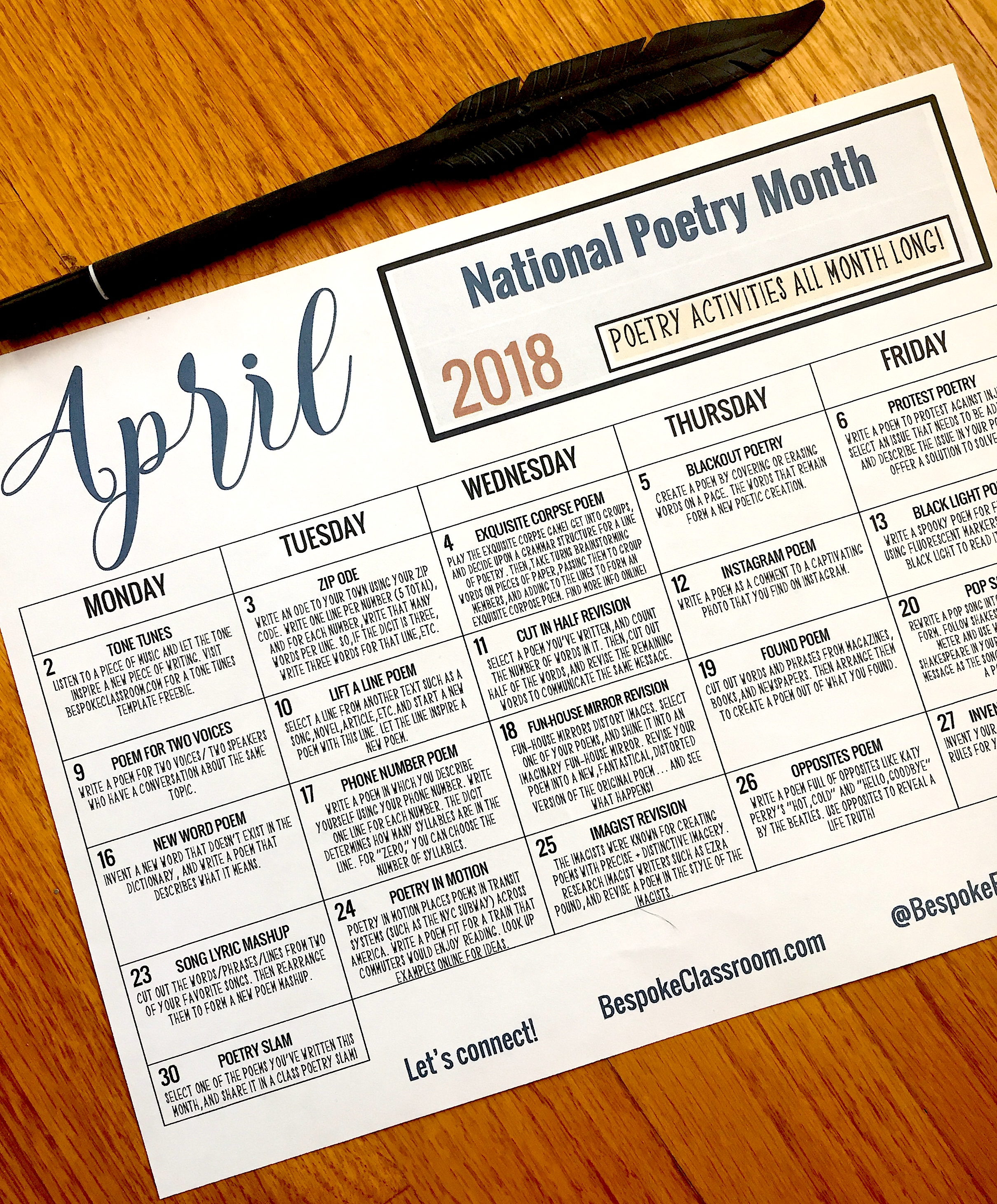FREE CALENDAR for NATIONAL POETRY MONTH!