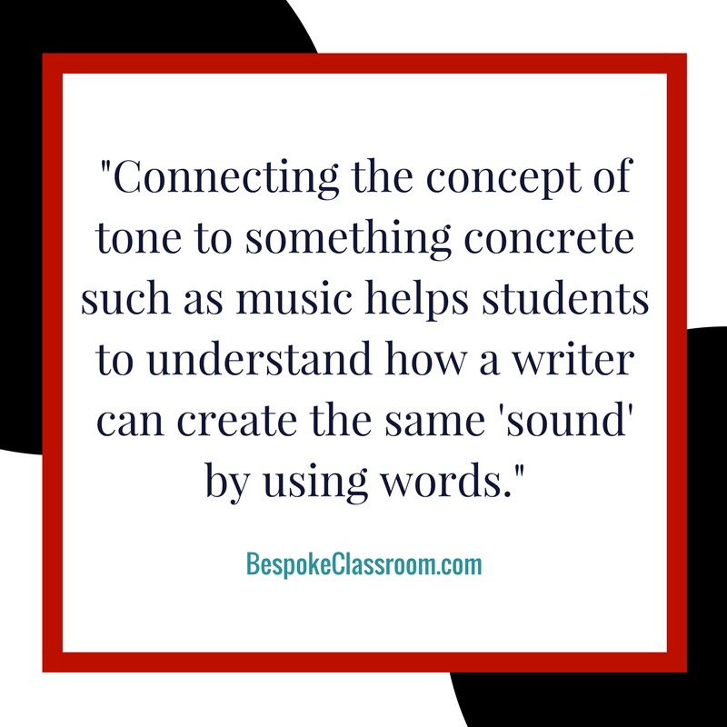 "Connecting the concept of tone to something concrete such as music helps students to understand how a writer can create the same ""sound"" by using words..png"