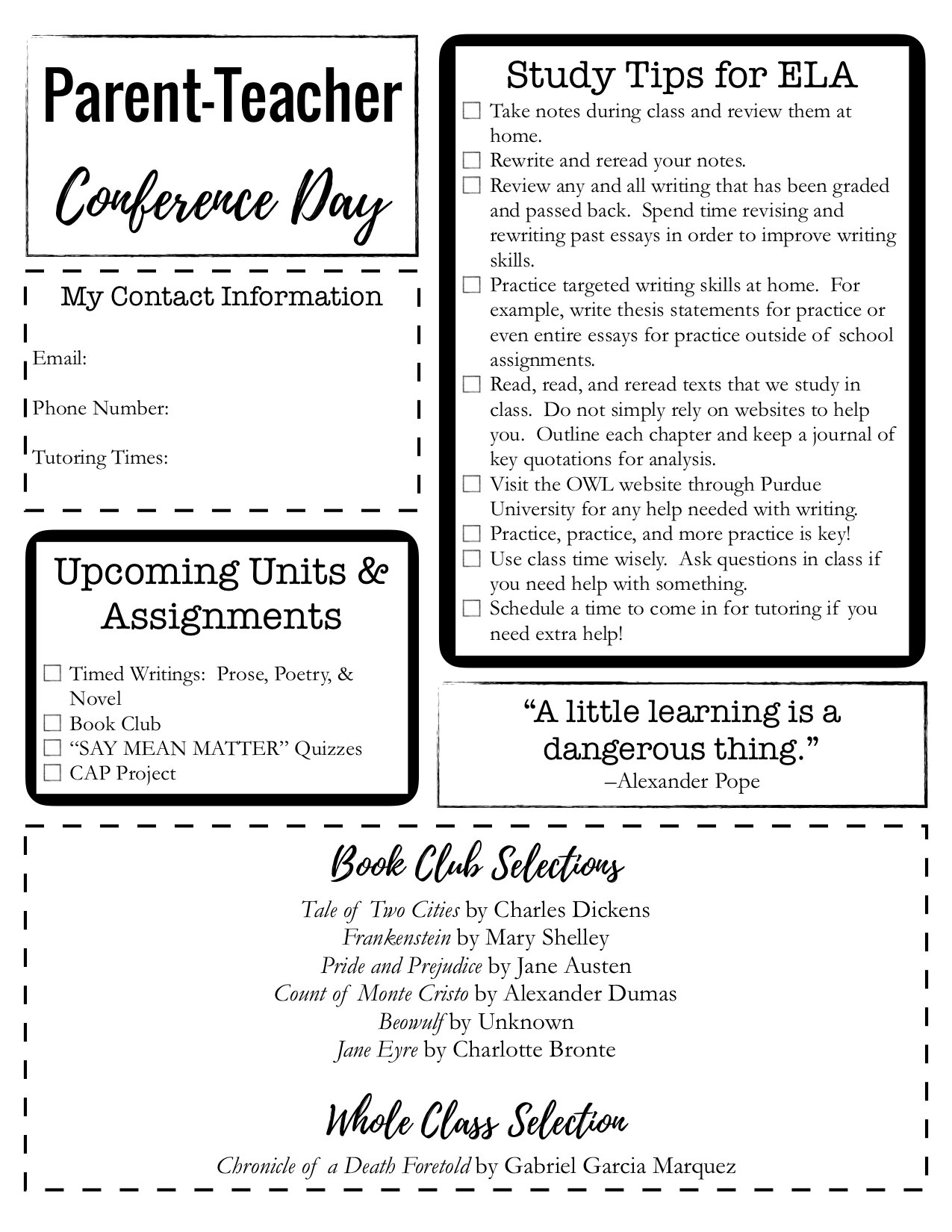 Parent-Teacher Conference Day Handout by Bespoke ELA2.jpg