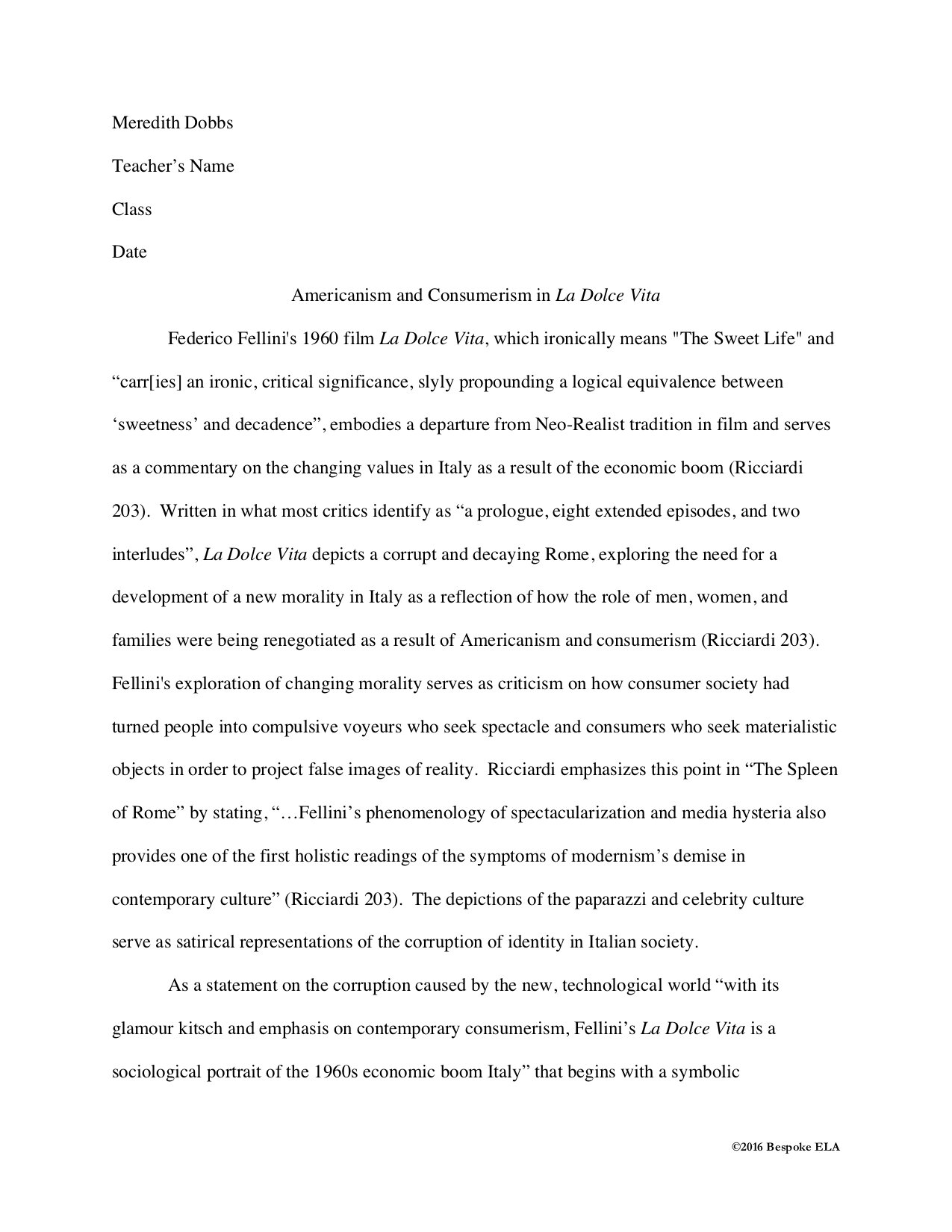 Writing Literary Analysis Essay