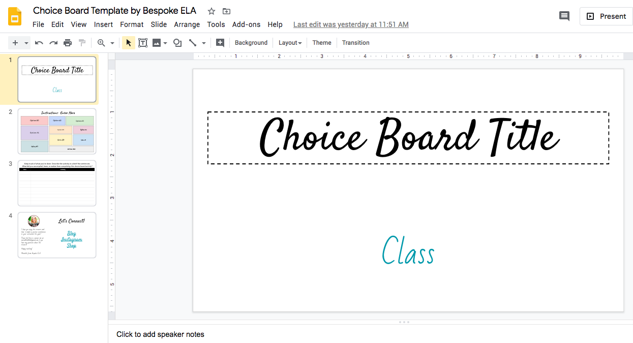 How To Make A Choice Board For Projects And Assignments Using