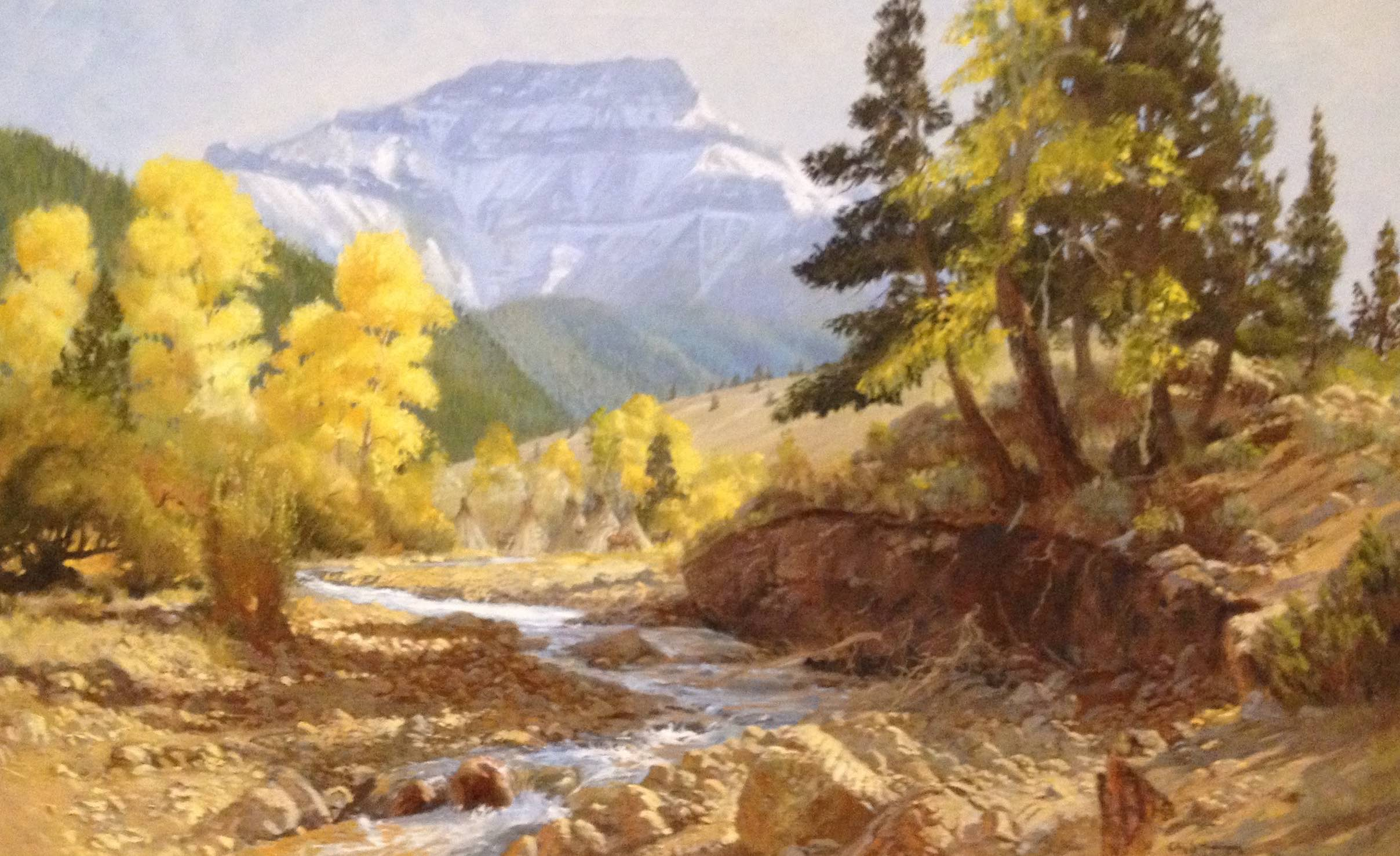 Many years ago I took this large 30 x 40 canvas up toward Yellowstone on the North Fork of the Shoshone River and painted most of this scene on location.  It was purchased by  Jim Nielsen, President of Husky Oil  (centered in Cody, Wyoming where we lived for many years). The painting became part of the Husky Oil collection and then when  Marathon Oil Company  purchased Husky Oil the painting became part of the Marathon Collection.    I hadn't seen it for many years but in 2012 it was displayed in the  Buffalo Bill Museum  and it was like seeing an old friend.