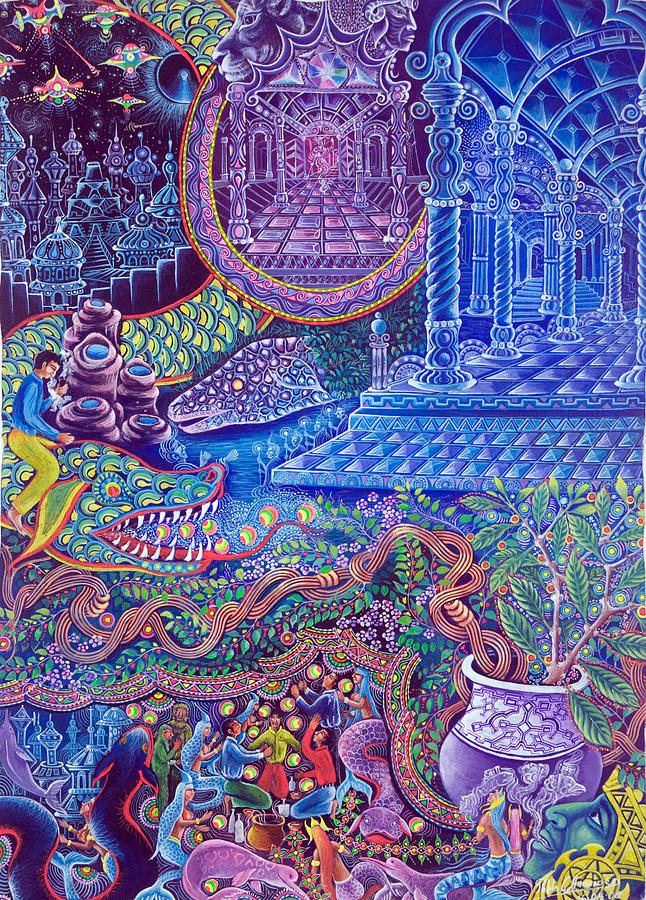 Similar visions of temple spaces and patterns I've experienced working with Ayahuasca. Visionary Artwork: Pablo Amaringo