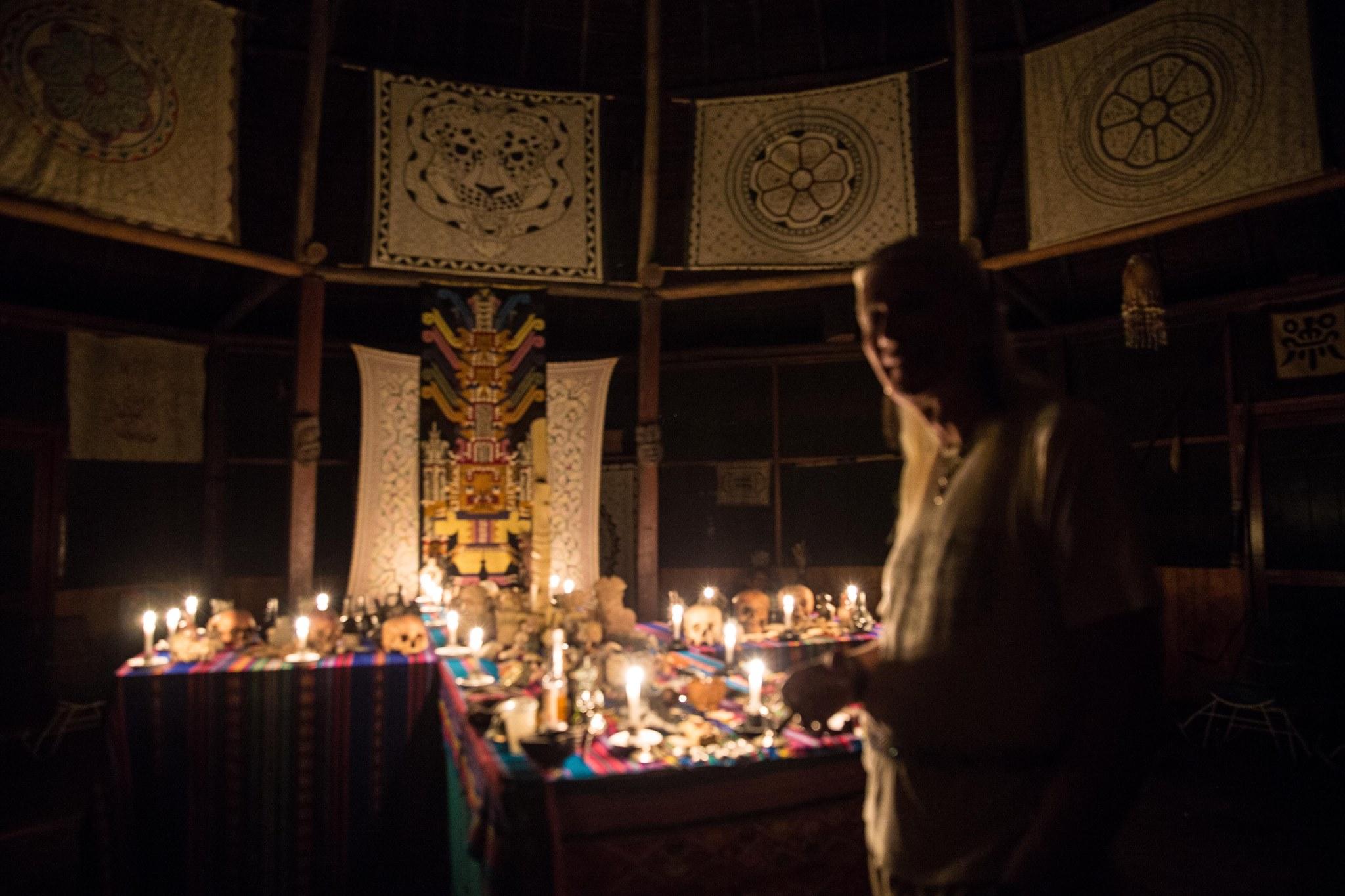 Howard standing at the ceremonial Huachuma alter. Photo: Choque Chinchay