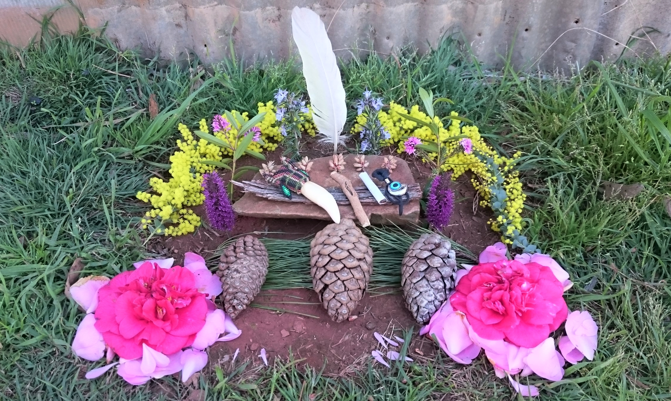 The ceremonial alter I constructed using materials from the surrounding sanctuary.