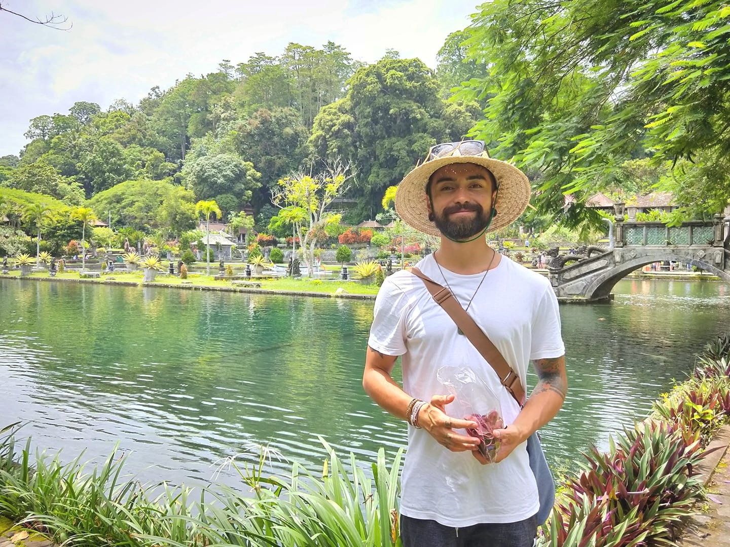 Yours truly, eating sweet potato crisps at the Water Palace in Indonesia, the day before coming down with symptoms of Dengue Fever… On our third day of being on holiday.