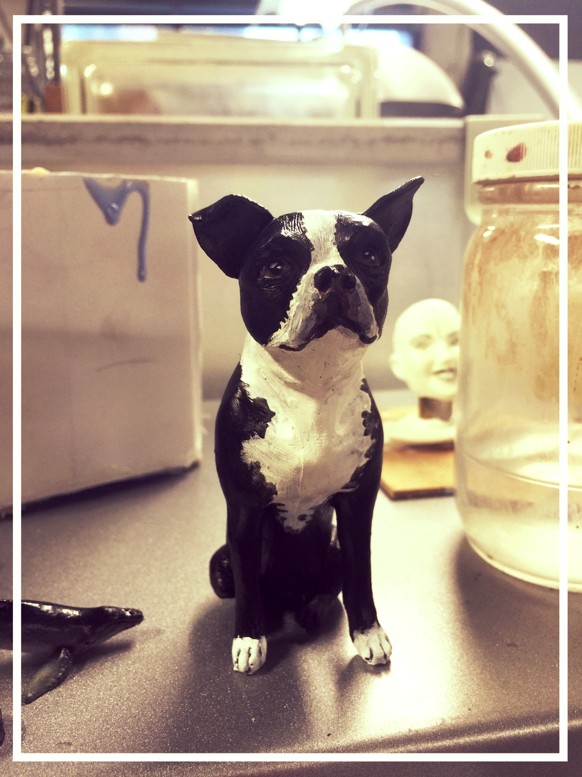 Boston Terrier Sculpt and Cast