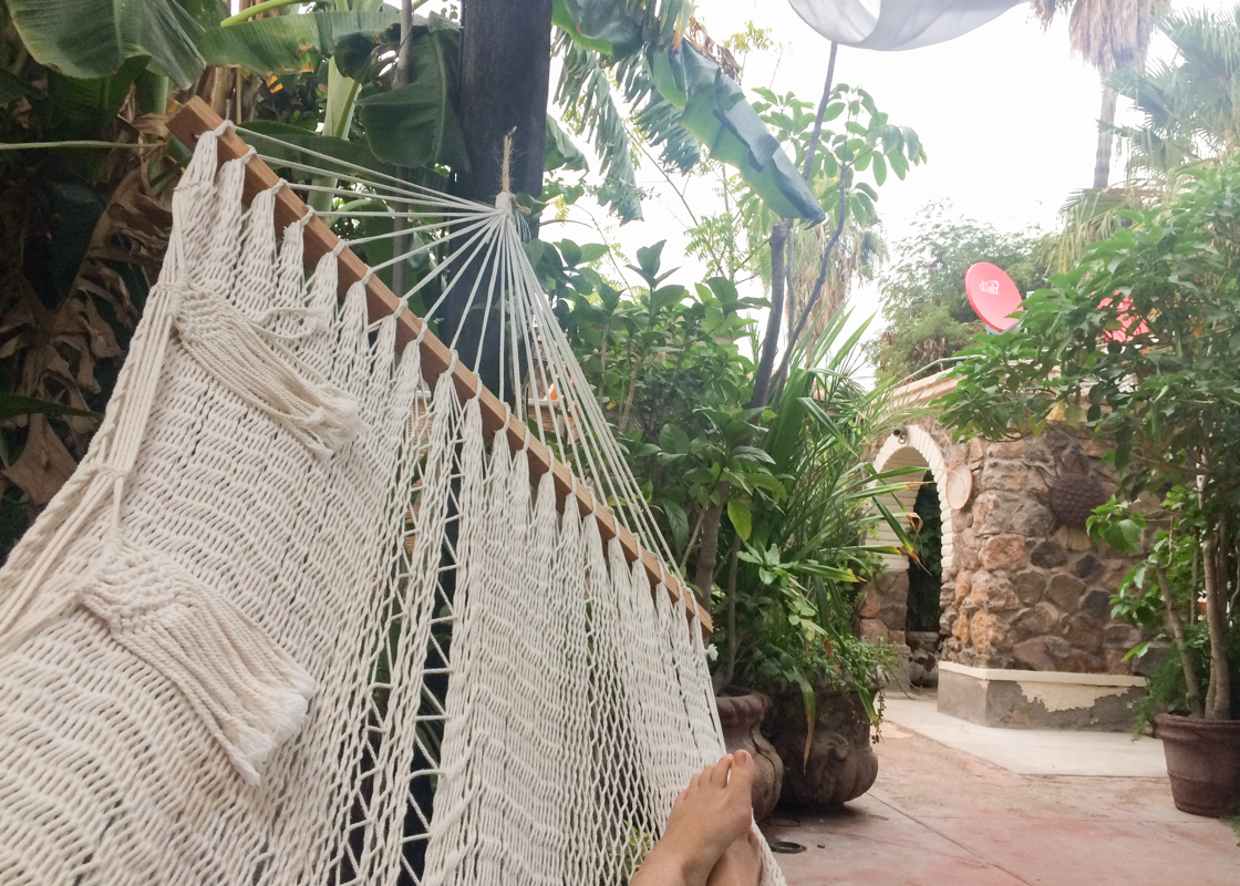 Chillin' in a hammock in our little courtyard oasis at the hotel in Mulegé.