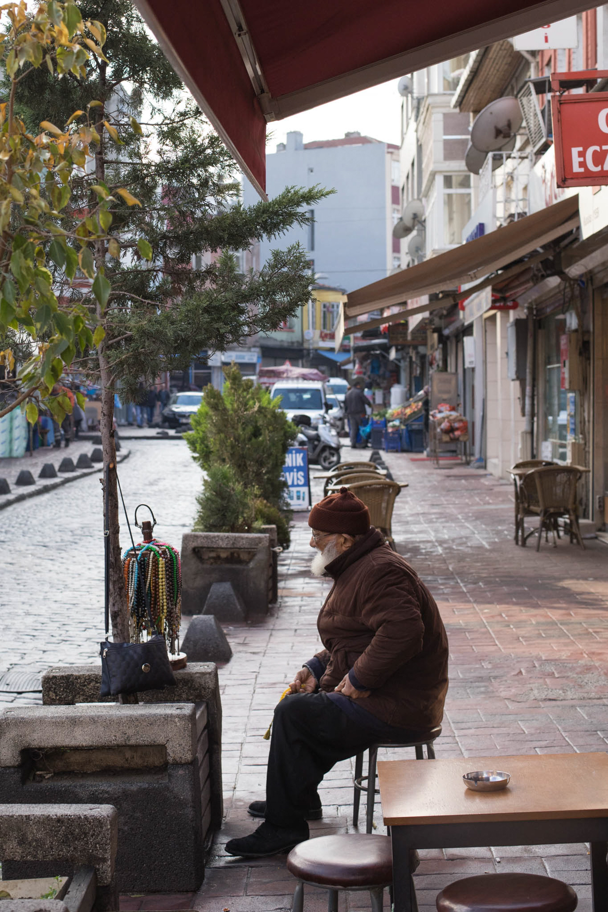 I don't know how the men in Istanbul make money when all they seem to do is sit on these miniature stools and drink tea all day!