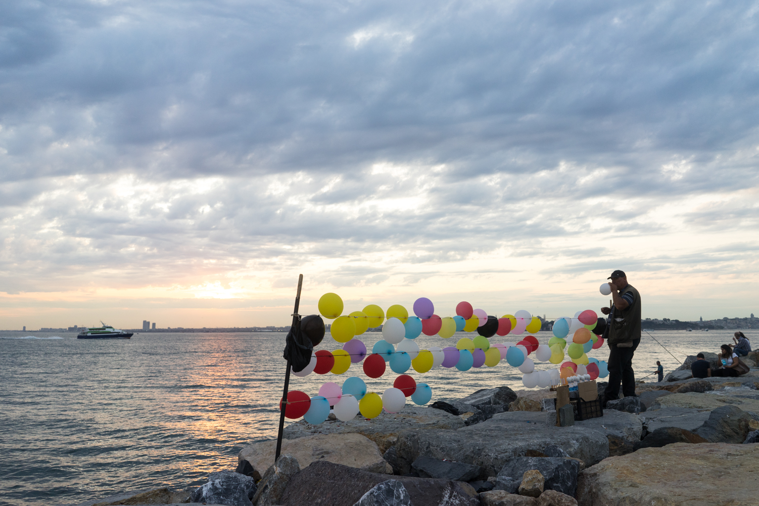 Balloon dark game set up on the Moda Seaside pathway in Kadiköy.