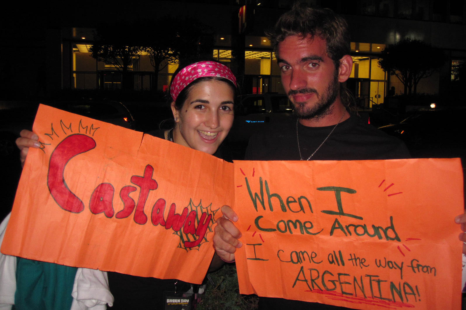 After the Green Day show in NYC in 2009. Yes, they played both of our songs (I made both signs).