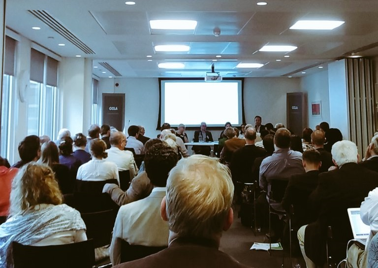 Full house for an evening panel on the Church and the Migration Crisis, to launch the CCSTP