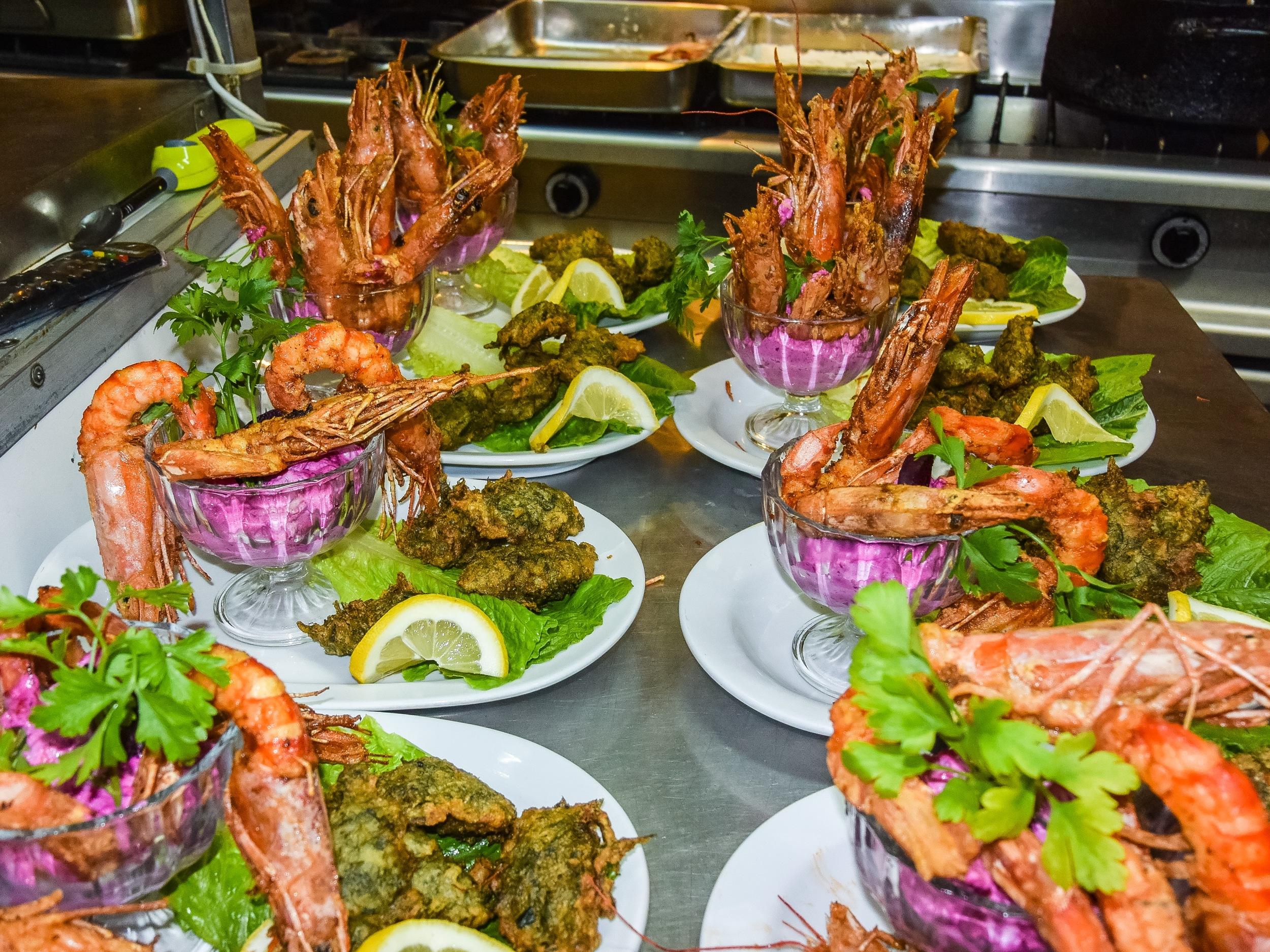 Fennel fritters (marathokeftedes) with Shrimp coctail.