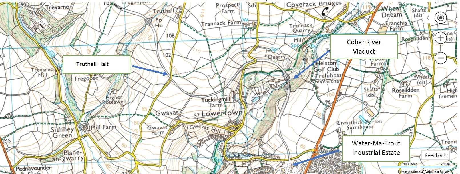 Map of trackbed from Truthall through to the Water-ma-Trout Industrial Estate - site of the original Helston station.