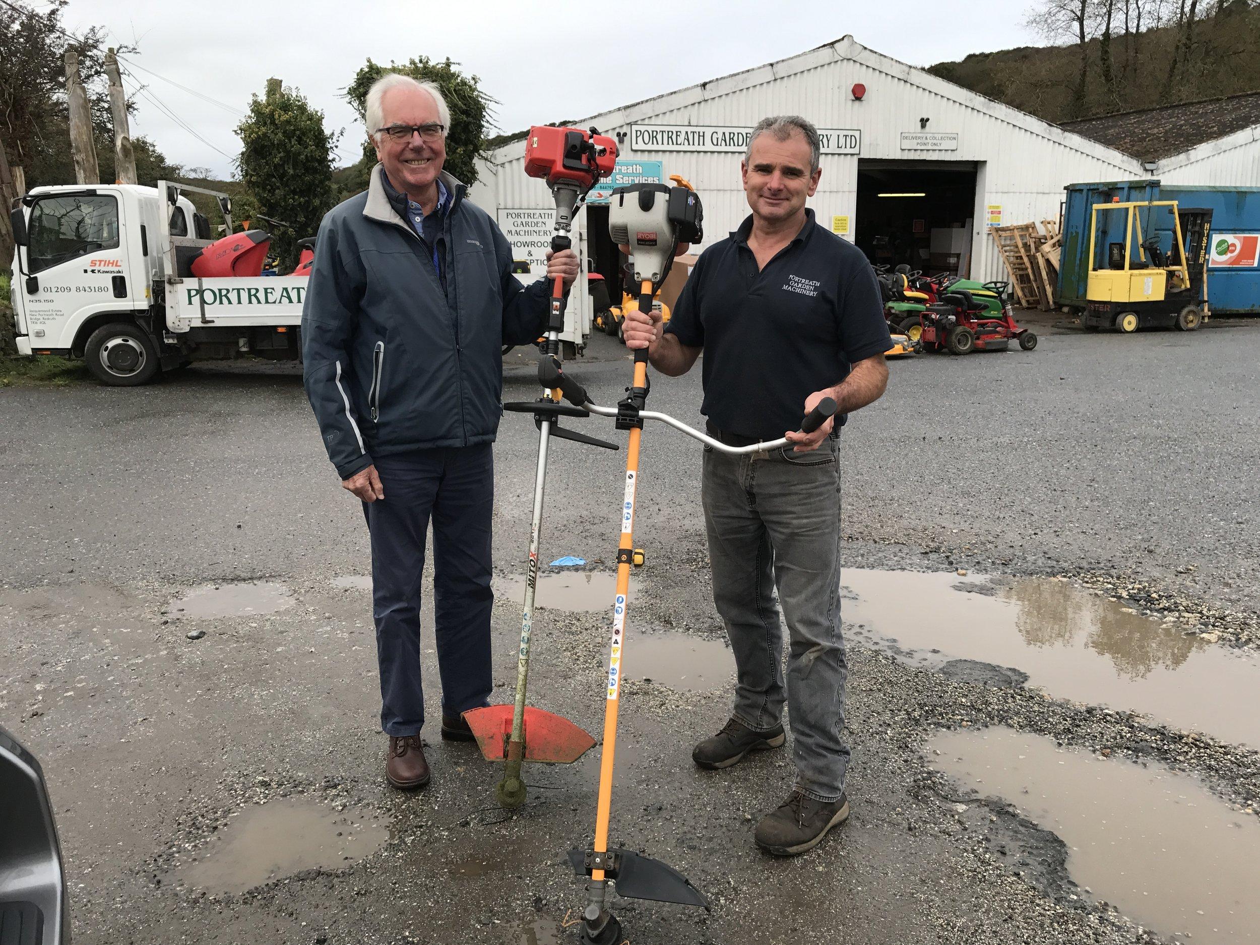 2017-10-09 Donation of 2 strimmers from Steve Stobel of Portreath Garden Machinery.JPG