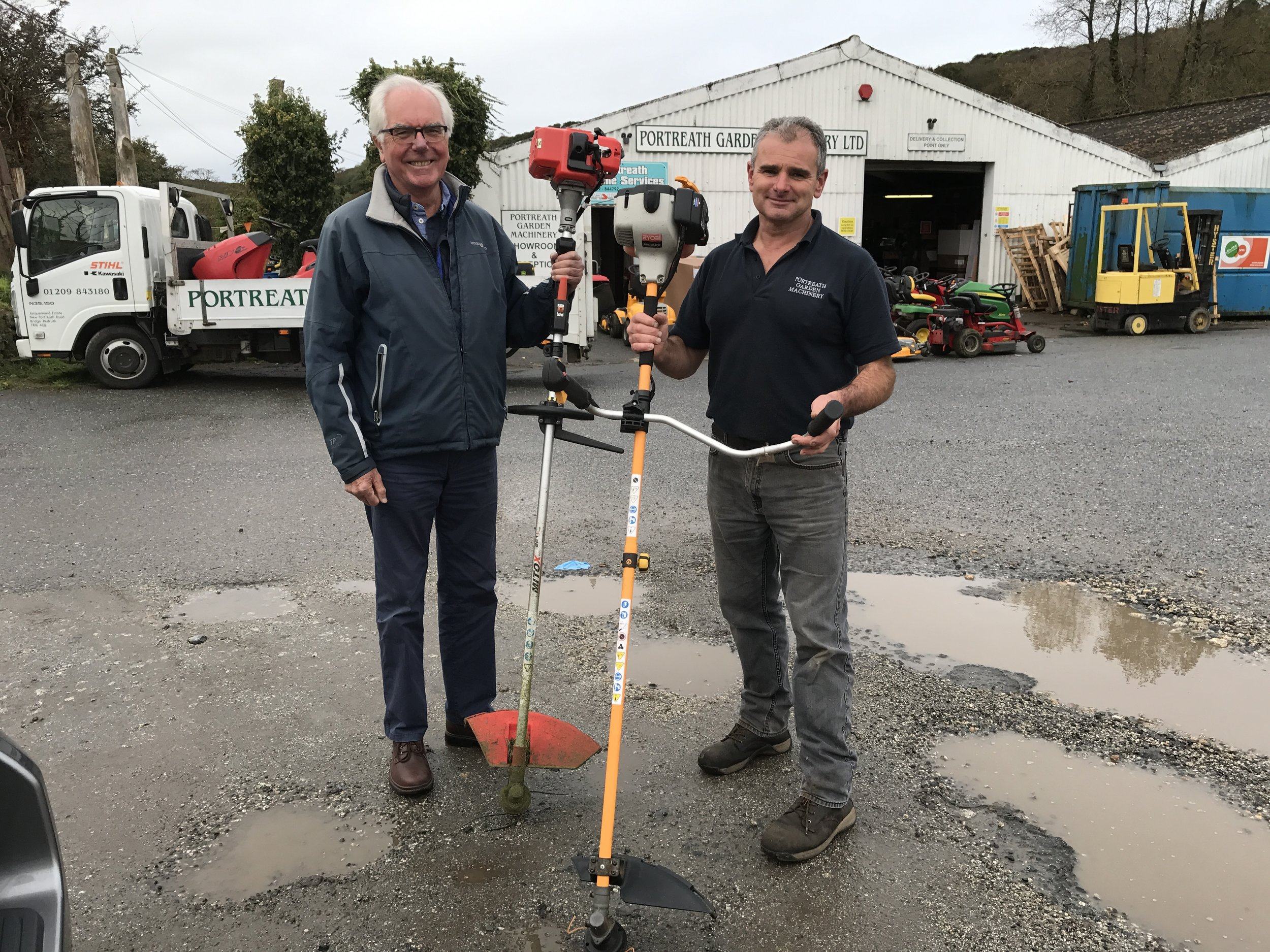 2017-10-09 Donation of 2 strimmers from Steve Stobel of Portreath Garden Machinery.JPG