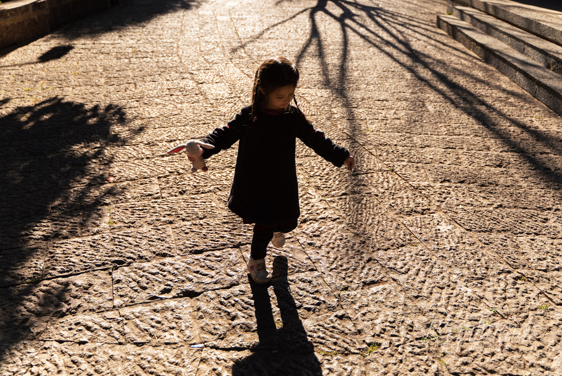 The magic of watching a little girl play with her own shadow in long evening light.