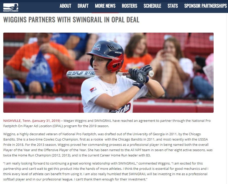 national-pro-fastpitch-megan-wiggins-partnership-swingrail-opal