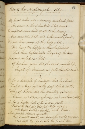 The manuscript of John Keats' 'Ode to a Nightingale'