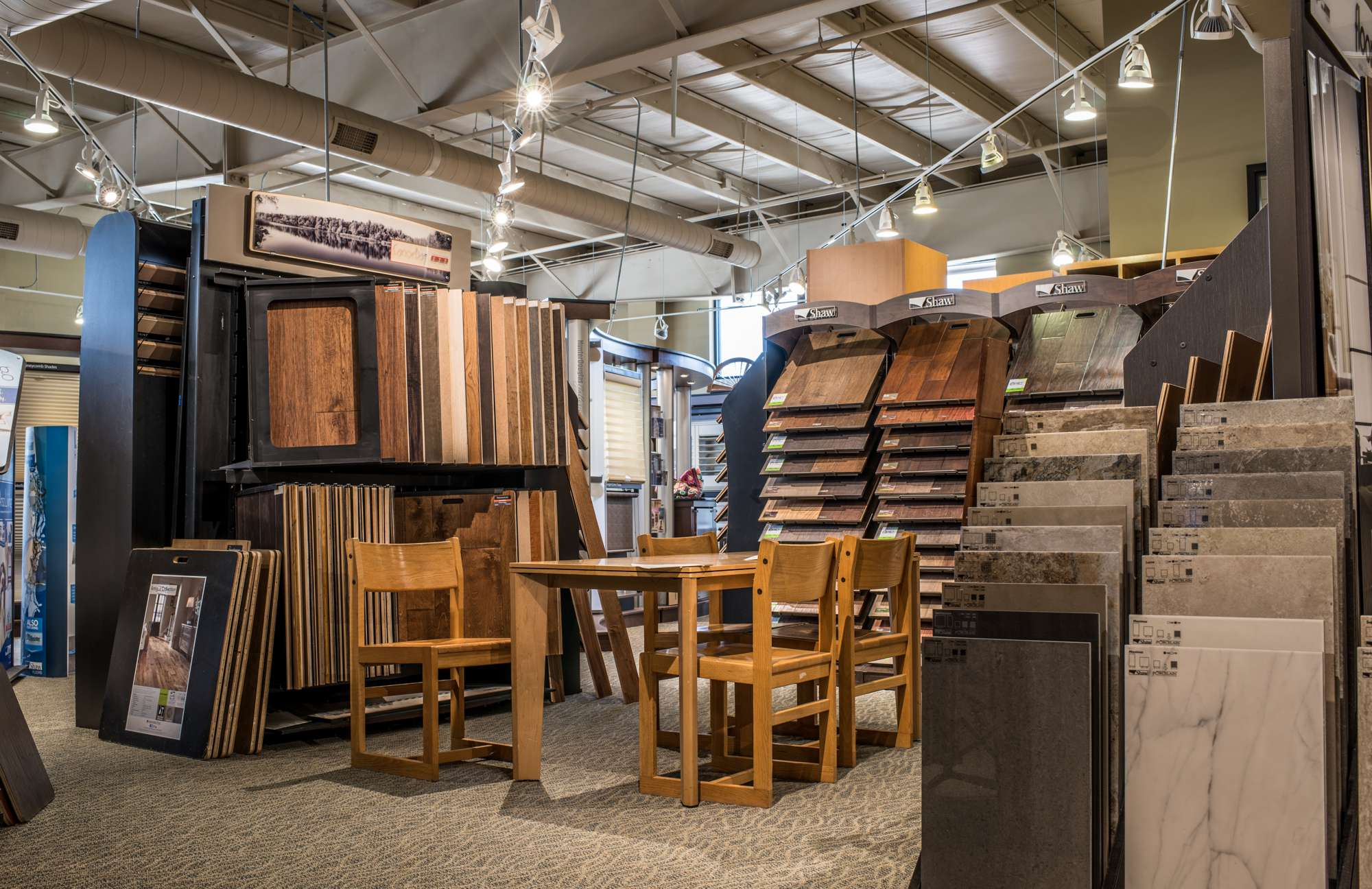 Hardwood flooring, laminates, and tile floor selections in our Columbia showroom