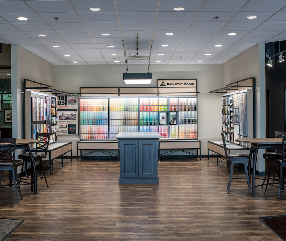Our  paint  center inside the new Johnston Paint & Decorating  showroom .