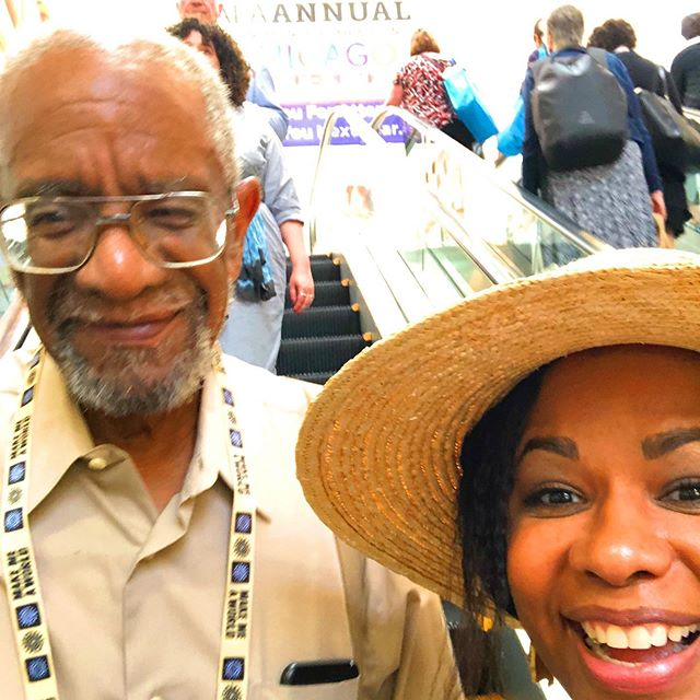 My precious dad stopped by #alaac19 Sunday!!! Y'all!!! He never smiles for photos! These pictures mean he's proud. And I couldn't ask for more from this conference! Thank you @macmillankidsbooks for inviting us. ❤️❤️❤️