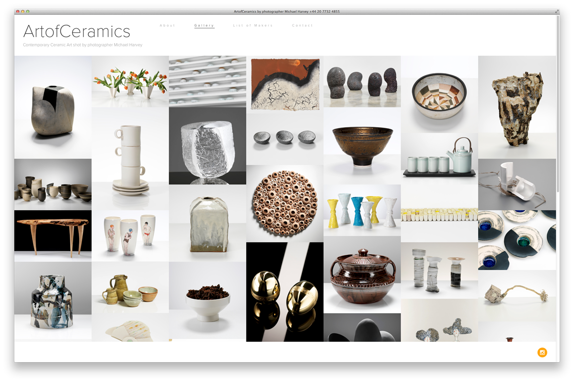 Splash Page for Michael Harvey's  Art of Ceramics