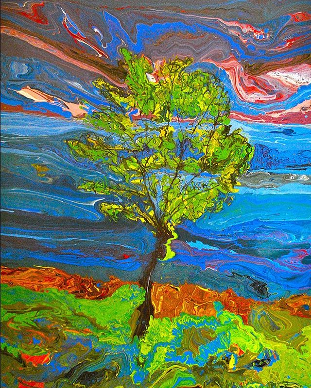 After the Storm by Jon Byrer #wellfleet #capecod #capecodlife #provincetown #truro #wellfleetartgalleries #downstairsgallerywellfleet #jonbyrerart #treepainting #marblepainting