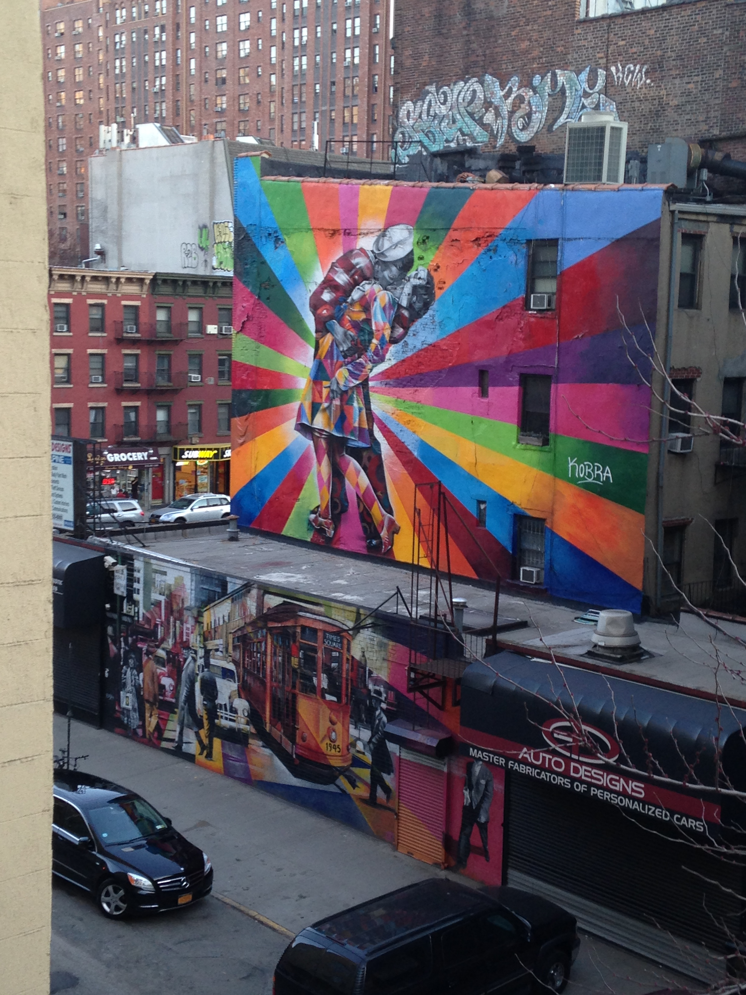 Eduardo Kobra's mural at 25th St. and 10th Avenue. View from the Highline, 2014