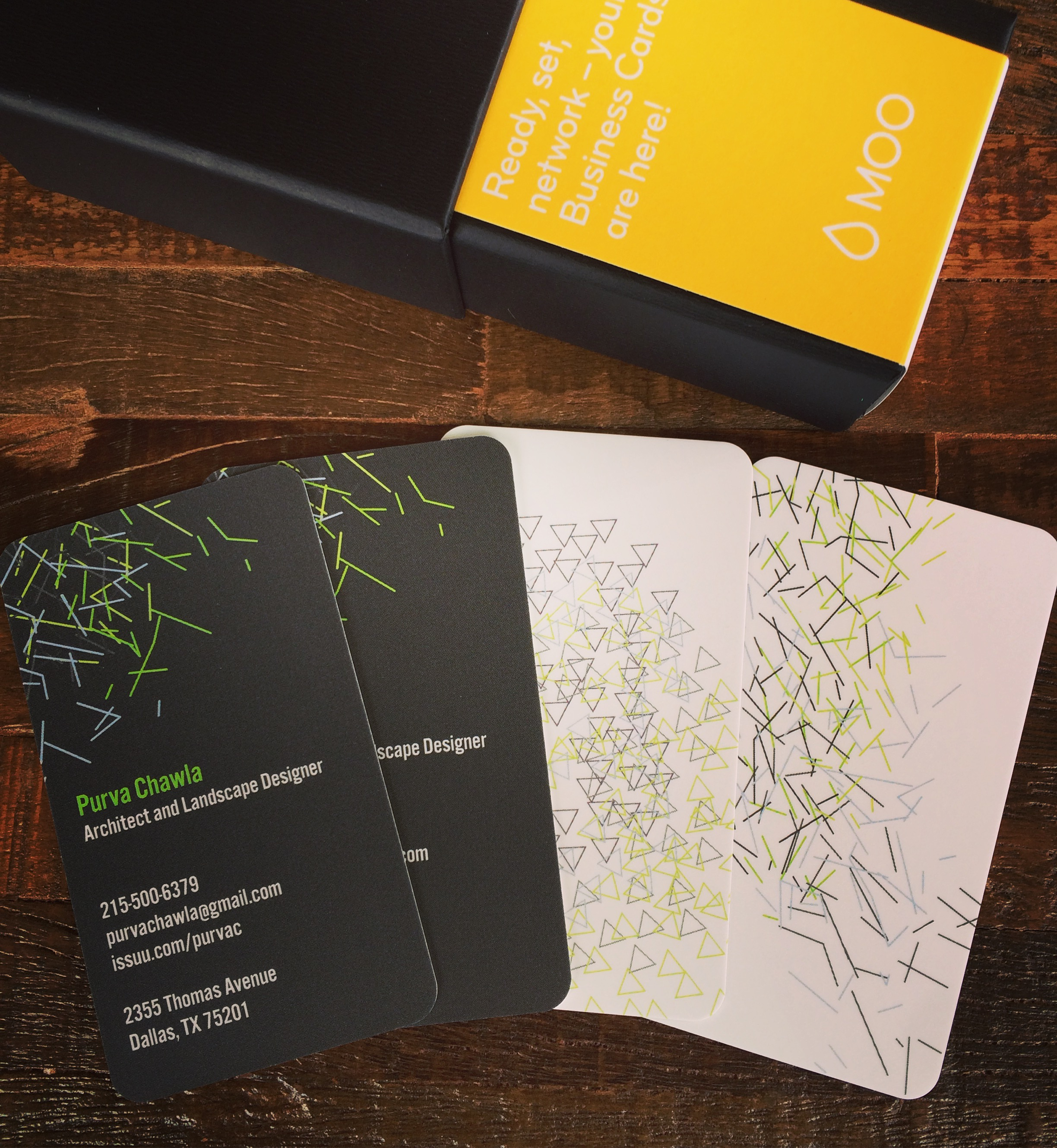 30 minute business cards, using MOO's templates and customization options.