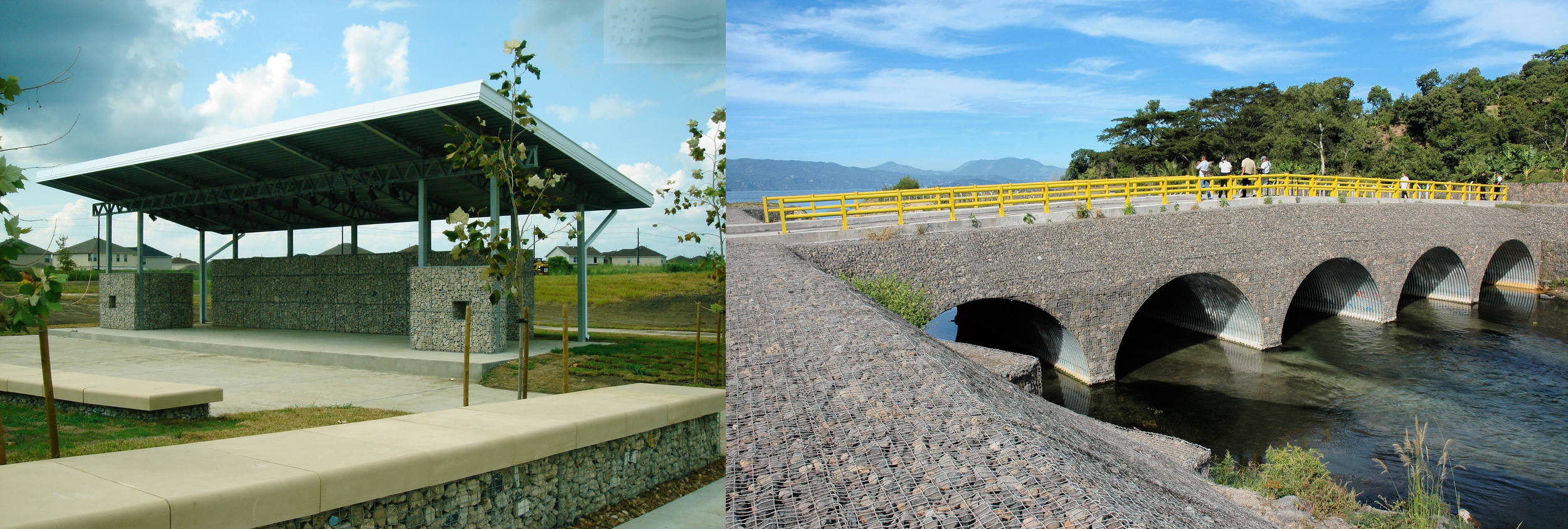 Architectural and landscape applications of the Modular Gabion System by C.E.Shepherd Company.