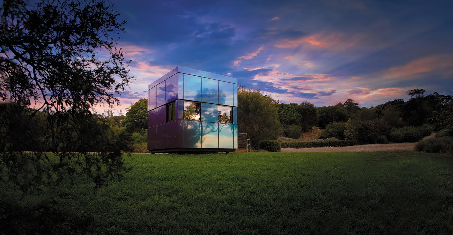 Harwyn Pods, clad in Spectra colors of Alucobond reflecting the trees and sky. Source:Harwyn