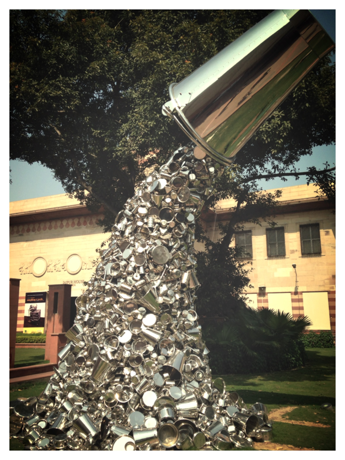Artist Subodh Gupta's Work with Steel Utensils, Seen here at the National Gallery of Modern Art, New Delhi.