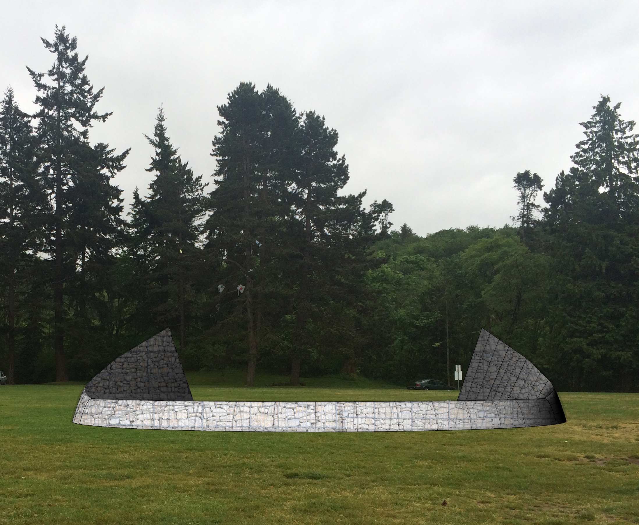 The base form for the Gabion Sculpture and Land Art develops.