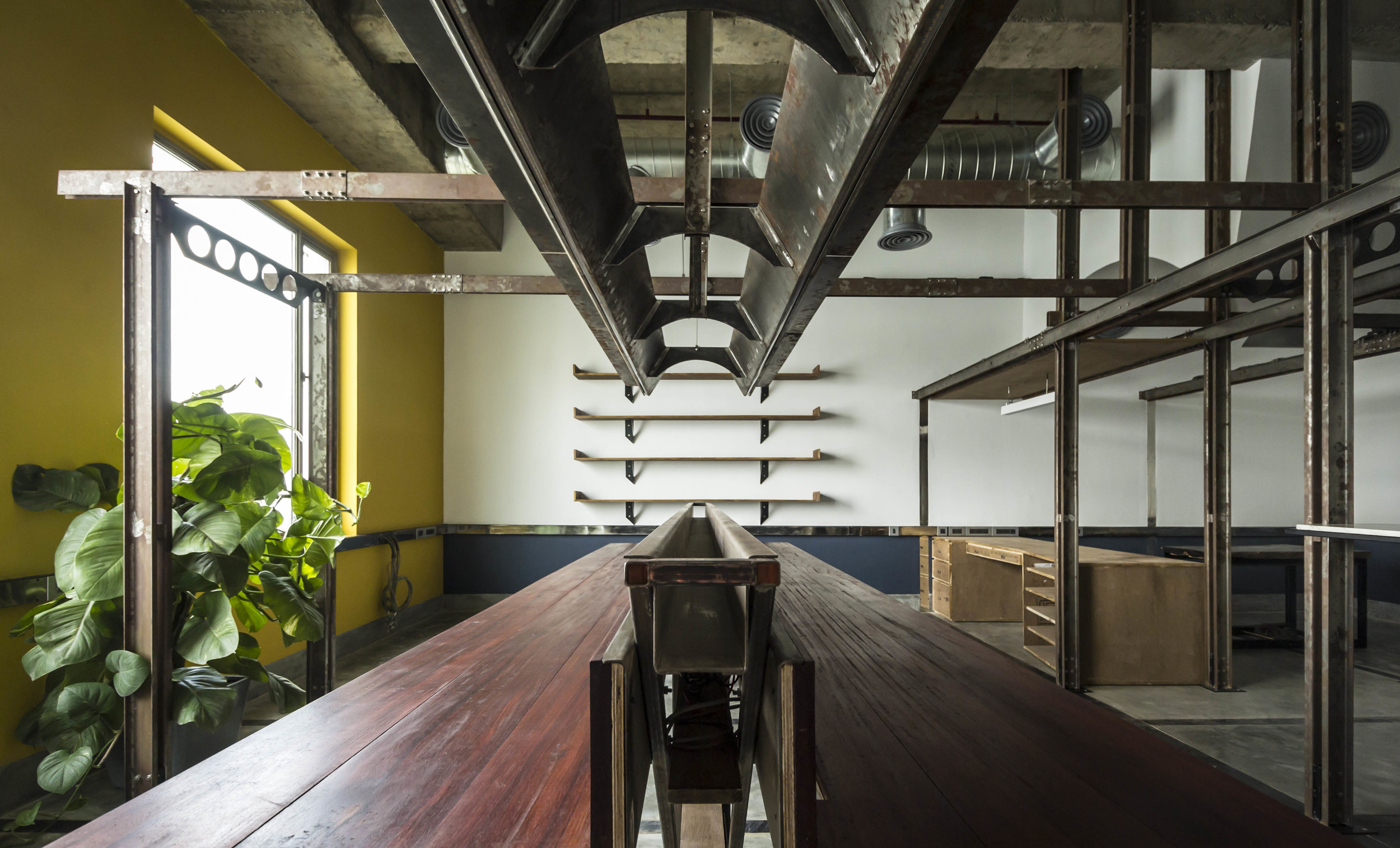 Studio space for and by Harsh Vardhan Jain Architects. Photography by Nakul Jain