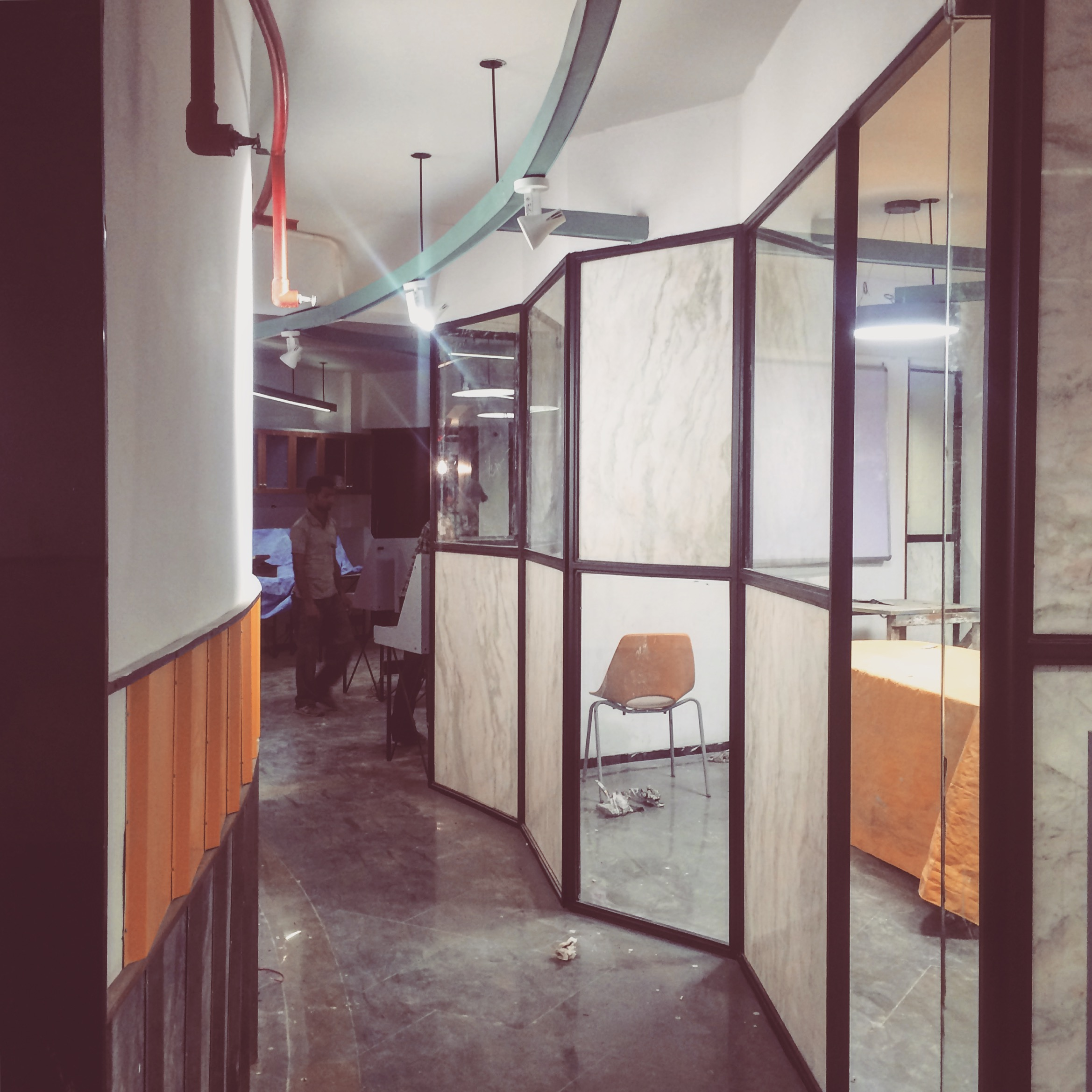 During construction–office in Hauz Khas by Harsh Vardhan Jain Architects and Co.Lab Design, Photography by Harsh Vardhan Jain