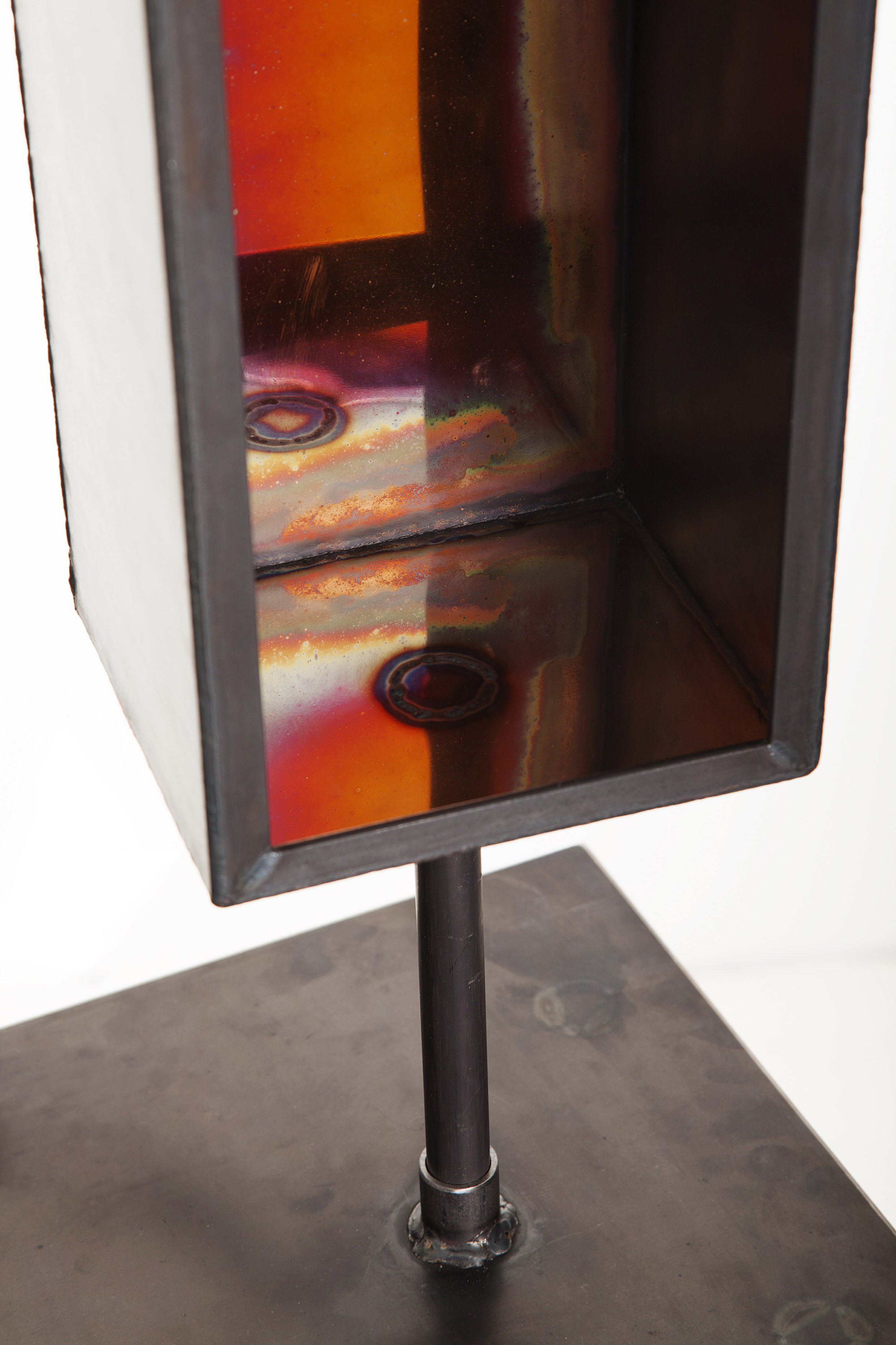 The welding of two different metals–copper and steel-creates flares of warmth and color. Metal Cupboard, by Michiel Poelmann