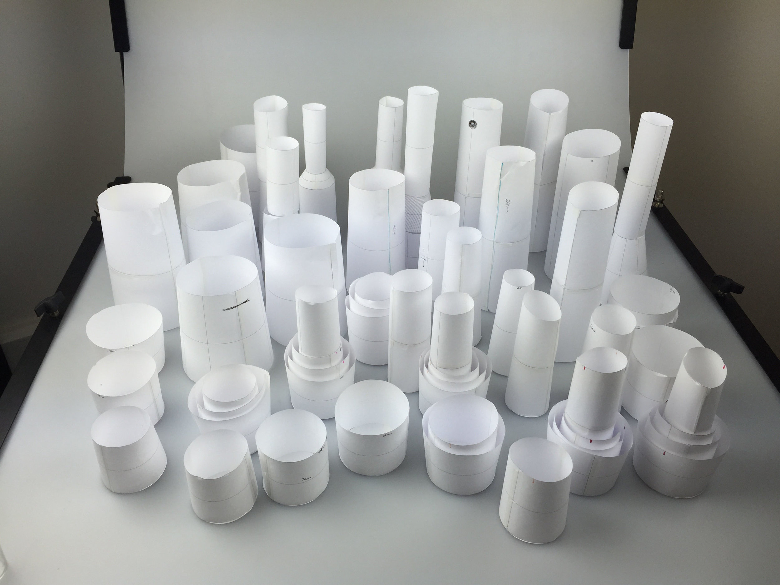 An army of paper prototypes preceded the creation of  Glasses for Water  from Lead-free crystal.