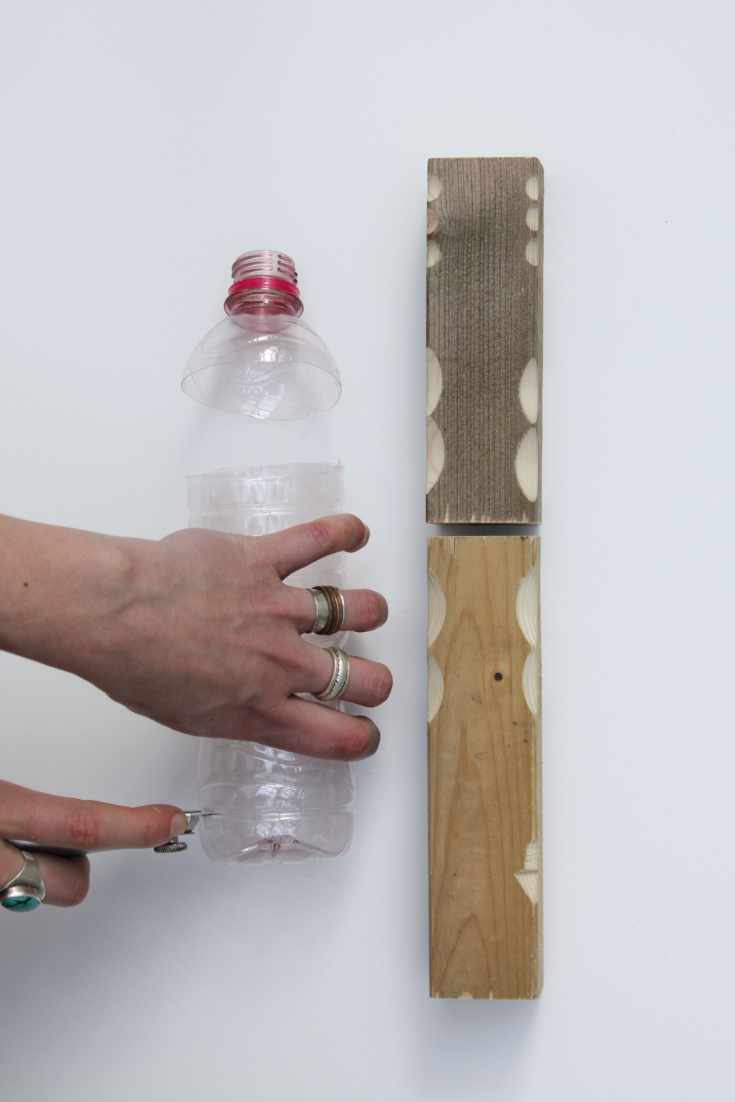 The components of the joint created with the  Joining Bottles technique by Micaella Pedro