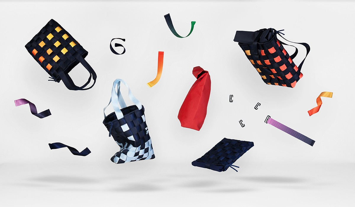 The PACK Bags by Alei Verspoor, and the woven straps, clips, and sleeves they can be disassembled into.
