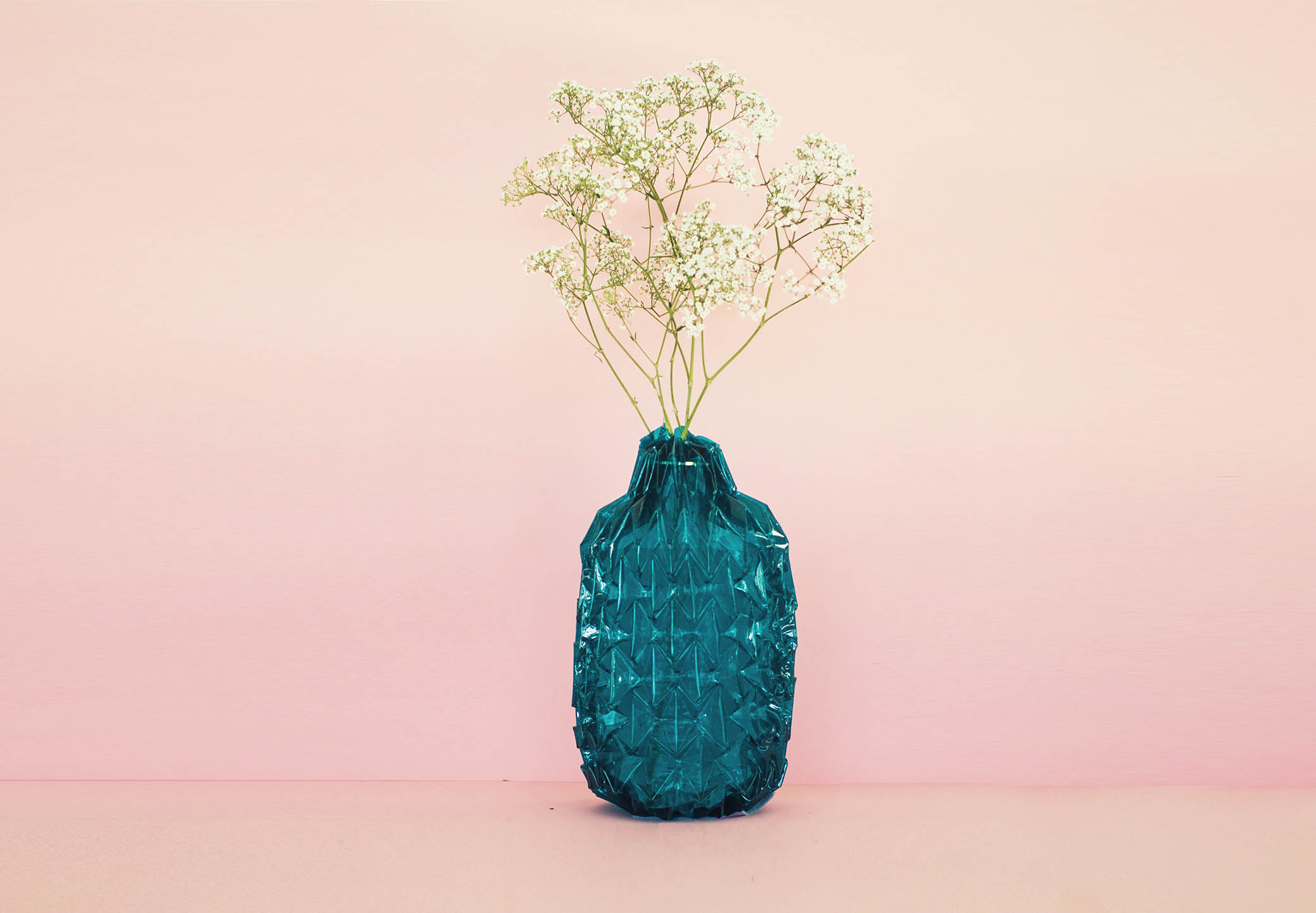 Ocean Blue Vase,  Unfolded Vases,  in glass , by Jule Waibel. This collection of vases can be seen at the London Design Festival!
