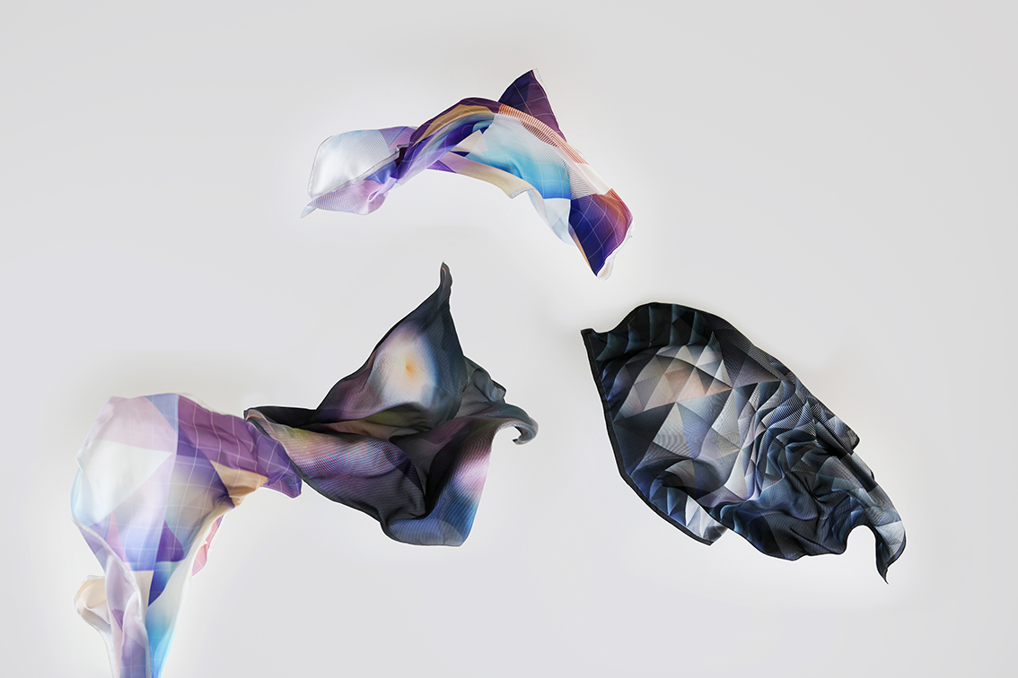 Fine printed silk scarves with graphic patterns :   Through the Looking Glass  , by Rive Roshan, In collaboration with Bilge Nur Saltik