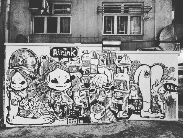 One of the several murals in Hong Kong, created over a period of two months, by artists working exclusively with  Air-Ink. Image source: Graviky Labs