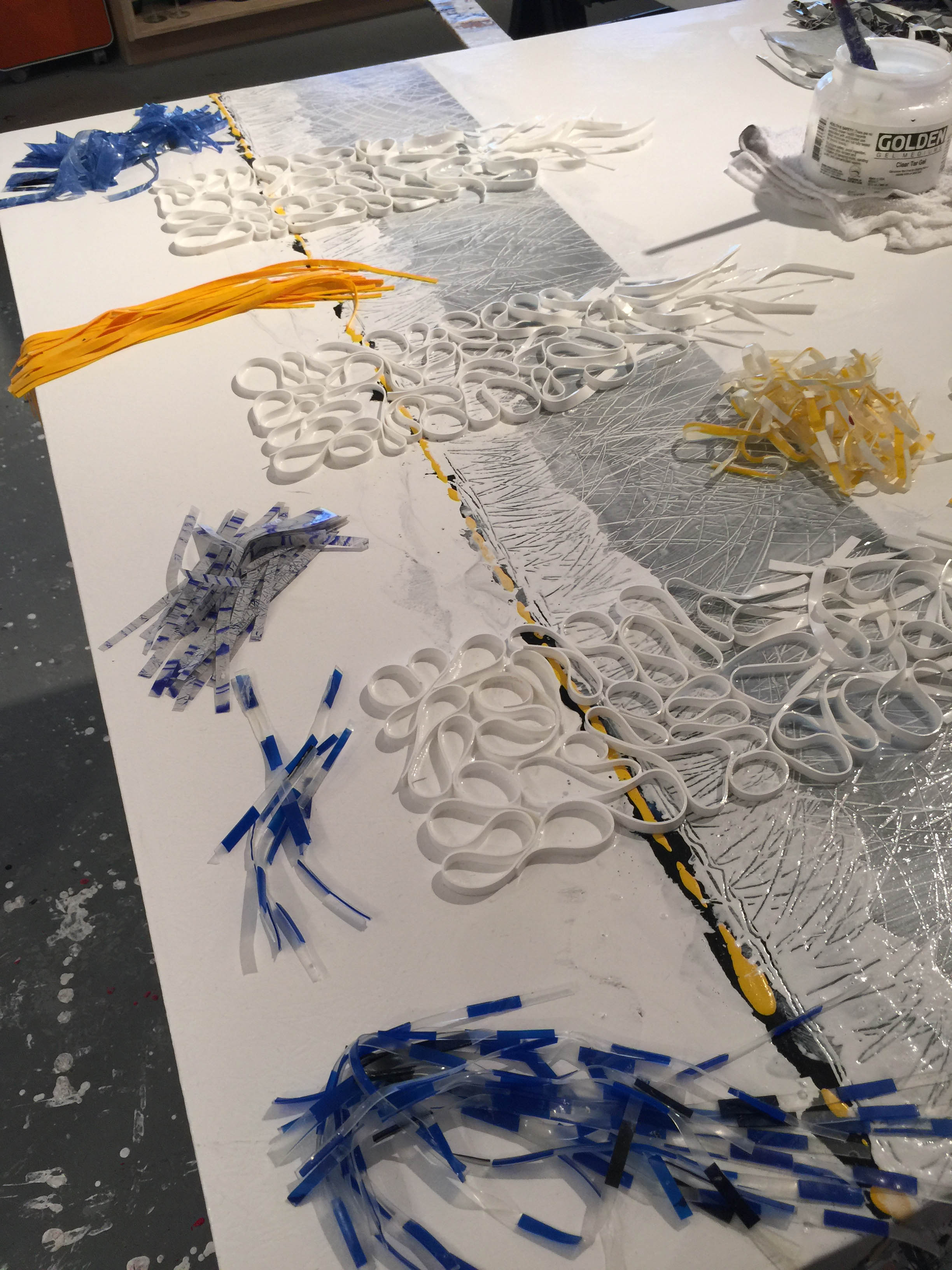 Strips of dried acrylic gel physicalize the braided, organic formations in Brian Huber's work, inspired by natural landscapes such Denali National Park, in Alaska.
