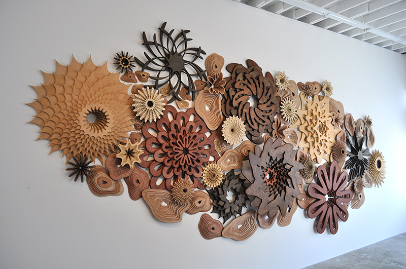 """MegaReef 01 ; 2014; stained wood; 10' x 18' x 11"""", Private Collection, Malibu, CA. Source: Joshua Abarbanel."""