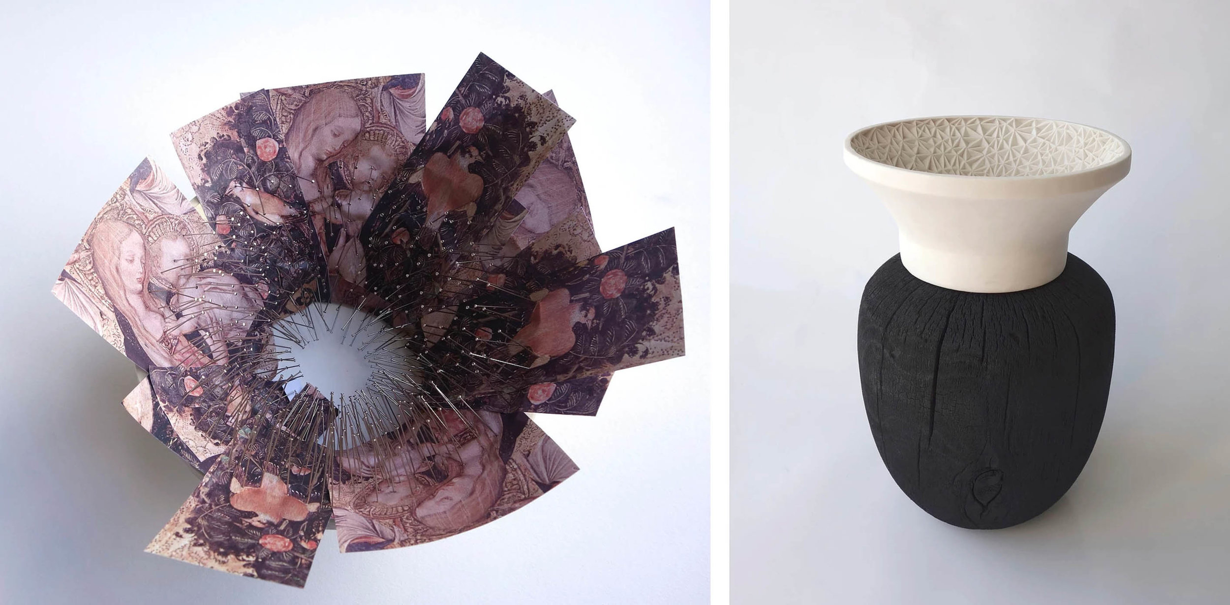 In Leah Jensen's  Renaissance Vessels , we see the pairing of carved porcelain with burnt wood. Seen here is the pattern mapping, and final vessel, based on  Madonna of the Quail.