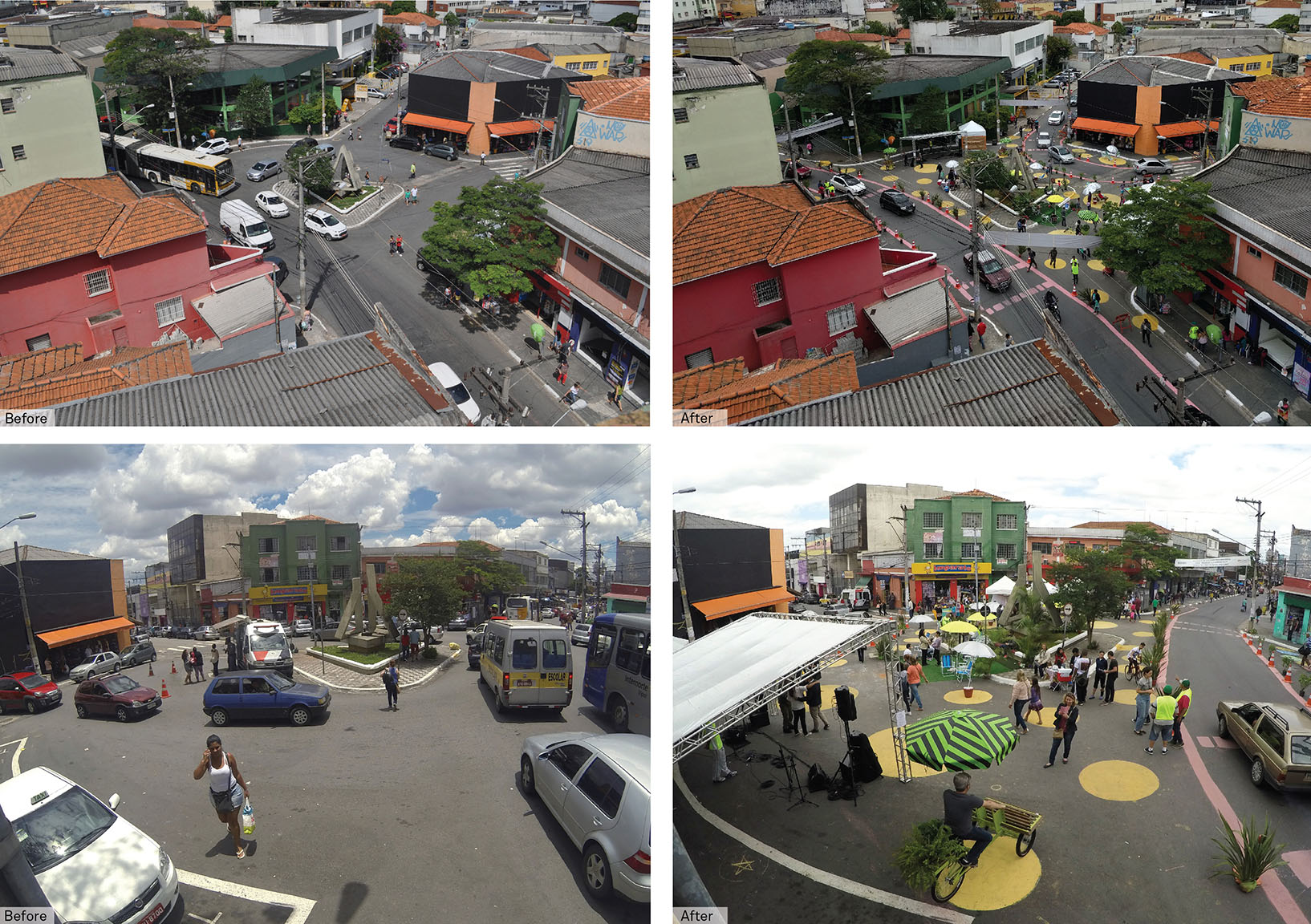 A glimpse of the pop-up transformation event organized by NACTO, under BIGRS, in Sao Miquel, São Paulo in November 2016