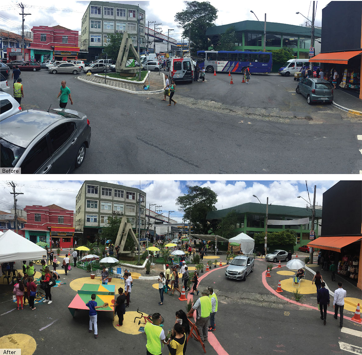 A vibrant and active pedestrian plaza, and multiple pedestrian crossings emerge during NACTO's one-day pop-up transformation event in Sao Miguel,São Paulo.