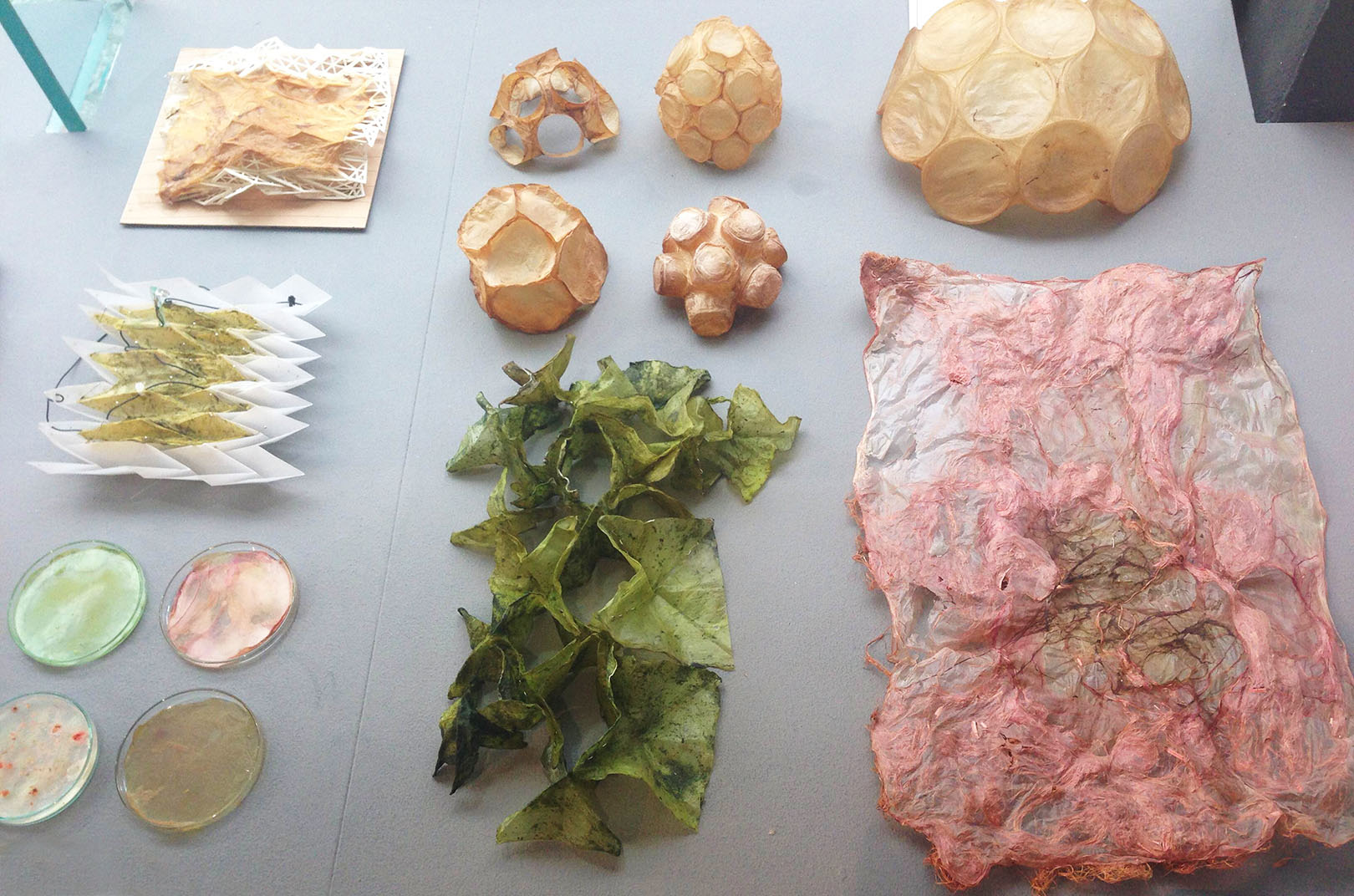 ecoLogicStudio with  Urban Morphogenesis Lab present microbial cellulose in different manipulated states, including a textile-like form seen above.