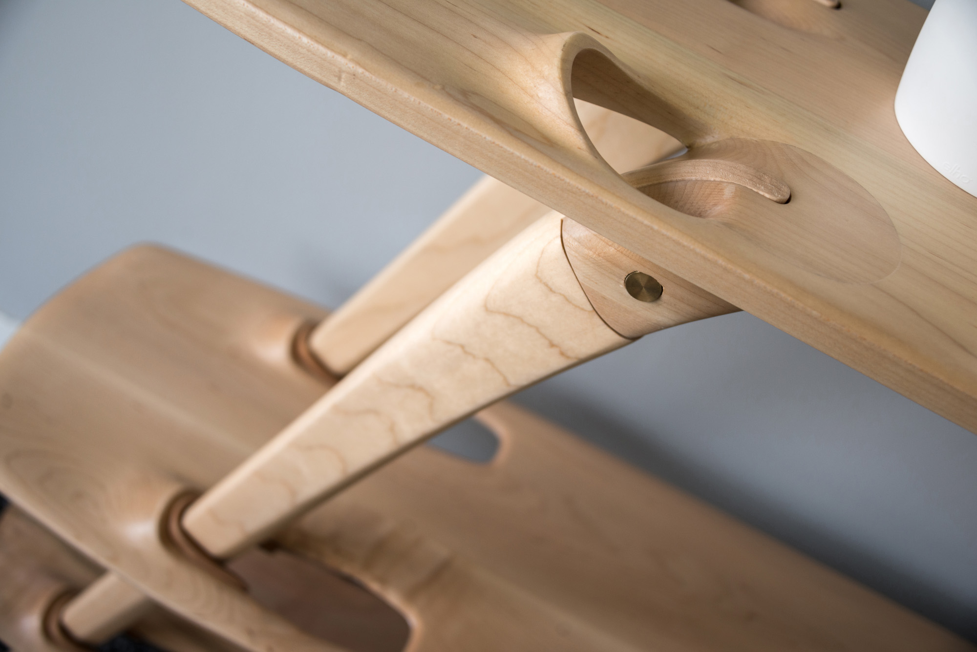 A close-up of the joinery in Ammar Kalo's  MULTI-TIER SHELF  system